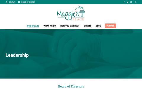 Screenshot of Team Page maggiesplace.org - Leadership – Maggie's Place - captured Oct. 21, 2018