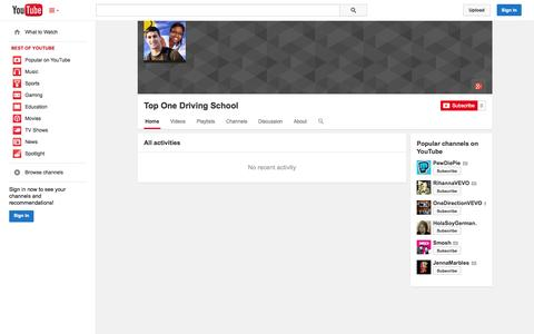 Screenshot of YouTube Page youtube.com - Top One Driving School  - YouTube - captured Oct. 29, 2014