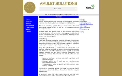 Screenshot of Services Page amuletsolutions.com - Amulet Solutions - Services - captured March 12, 2016
