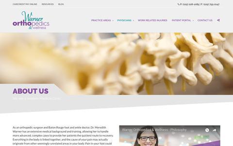 Screenshot of About Page warnerorthopedics.com - About Us - Orthopedic Clinic - Warner Orthopedics & Wellness - captured Oct. 18, 2018