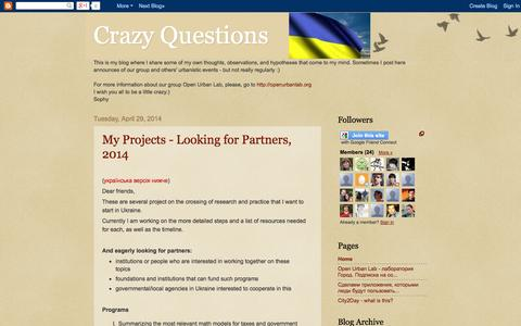Screenshot of Home Page crazy-questions.blogspot.com - Crazy Questions - captured Oct. 2, 2014