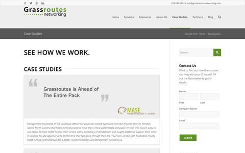 Screenshot of Case Studies Page grassroutesnetworking.com - Case Studies | Grassroutes Networking - captured Nov. 2, 2014