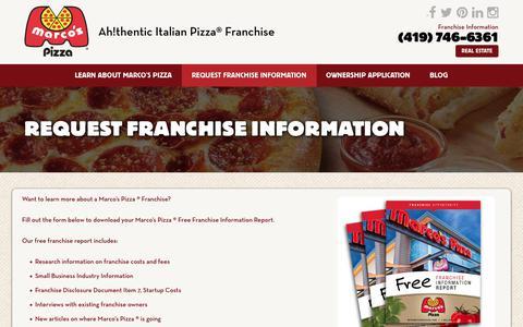 Screenshot of marcosfranchising.com - Request Franchise Information - Marcos Pizza Franchising - captured Sept. 17, 2017