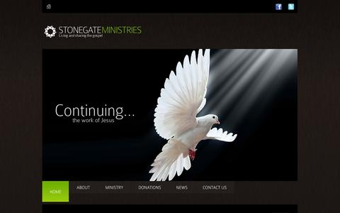 Screenshot of Home Page stonegateministries.org - StoneGate Ministries - captured Sept. 26, 2014