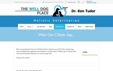 Screenshot of Testimonials Page thewelldogplace.com - Testimonials for Dr. Ken Tudor - captured July 25, 2016
