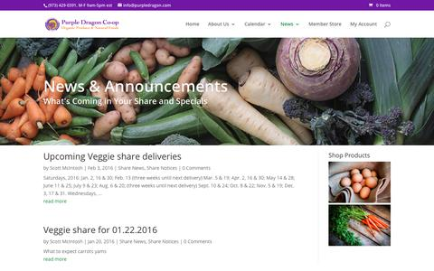 Screenshot of Press Page purpledragon.com - Share Announcements | Purple Dragon Co-Op - captured July 5, 2018