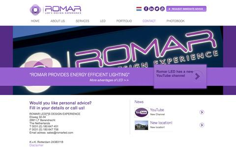 Screenshot of Contact Page romarled.com - Contact | Romar LED - captured Oct. 7, 2014