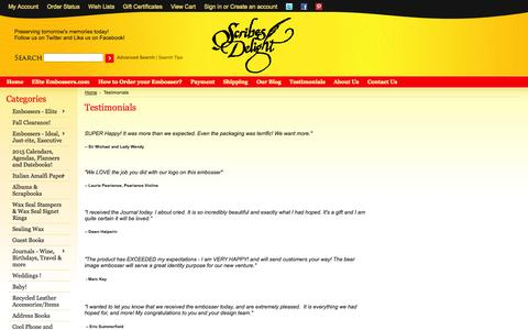 Screenshot of Testimonials Page scribesdelight.com - What Our Customers Say - captured Sept. 30, 2014
