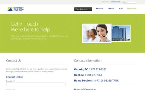 Screenshot of Contact Page summitt.ca - Contact Us - captured Sept. 23, 2014