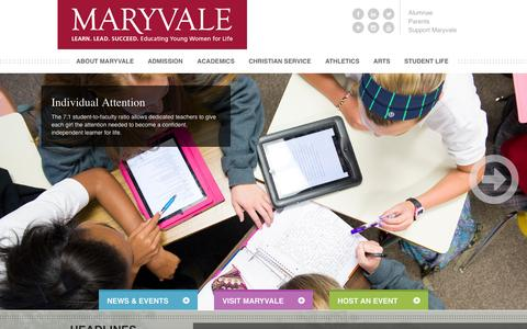 Screenshot of Home Page maryvale.com - Maryvale Preparatory School - Baltimore Independent Catholic School - captured Oct. 6, 2014