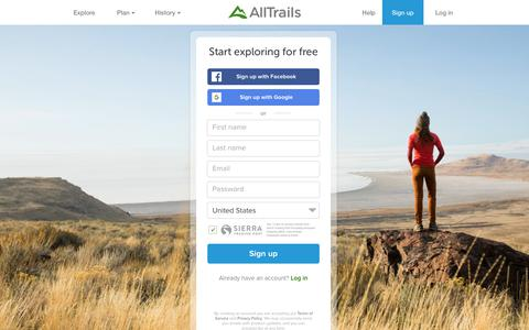 Screenshot of Signup Page Maps & Directions Page alltrails.com - Sign up | AllTrails - captured Aug. 3, 2018
