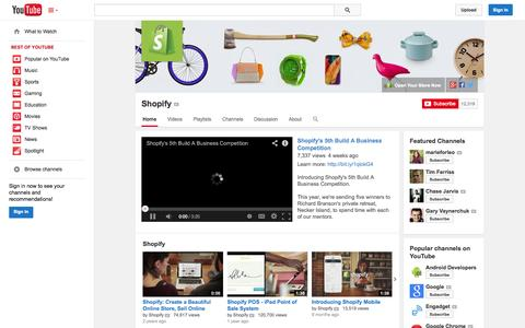 Screenshot of YouTube Page youtube.com - Shopify  - YouTube - captured Oct. 22, 2014