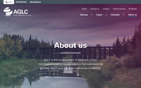 Screenshot of About Page aglc.ca - About us | AGLC - captured Sept. 23, 2018