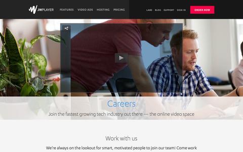 Screenshot of Jobs Page jwplayer.com - JW Player Careers | Hiring Developers, Designers, Engineers - captured Sept. 16, 2014