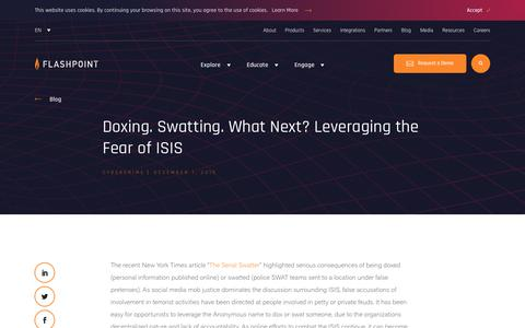 Screenshot of Blog flashpoint-intel.com - Flashpoint - Doxing. Swatting. What Next? Leveraging the Fear of ISIS - captured Nov. 12, 2019