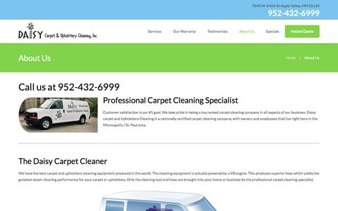Screenshot of About Page daisycarpetcleaning.com - About Us - Twin Cities Best Carpet Cleaning Company - Daisy Carpet Cleaning - captured Oct. 12, 2017