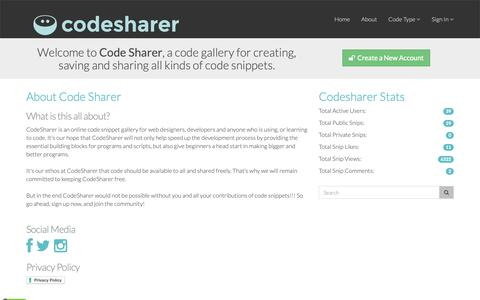 Screenshot of About Page codesharer.org - Codesharer · Code Snippet Gallery - captured Oct. 25, 2018