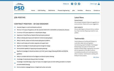 Screenshot of Jobs Page psdengg.net - job-posting - PSD Engg.PSD Engg. - captured Jan. 23, 2016