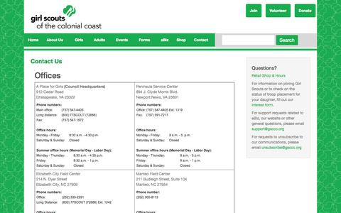 Screenshot of Hours Page gsccc.org captured Oct. 2, 2014