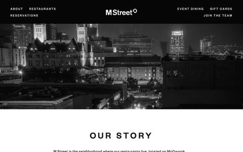Screenshot of About Page mstreetnashville.com - Our Story — M Street - captured April 4, 2019