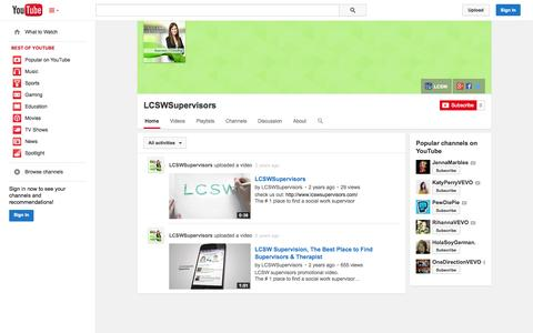Screenshot of YouTube Page youtube.com - LCSWSupervisors  - YouTube - captured Nov. 1, 2014