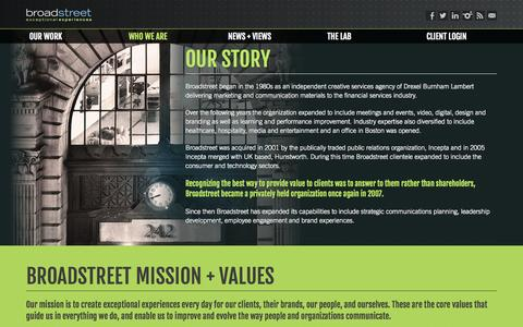 Screenshot of About Page broadstreet.com - Broadstreet | Who We Are - captured Sept. 30, 2014