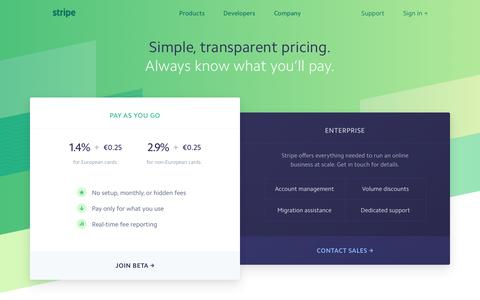 Screenshot of Pricing Page stripe.com - Stripe: Pricing - captured Dec. 15, 2016