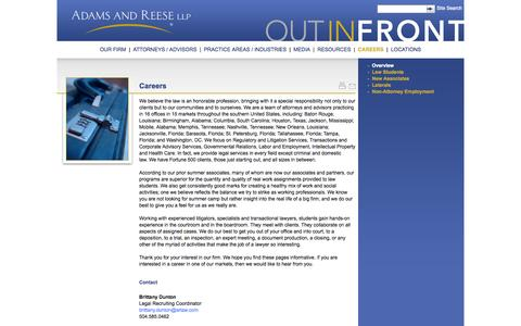 Screenshot of Jobs Page adamsandreese.com - Adams and Reese LLP | Careers Overview - captured Oct. 4, 2014
