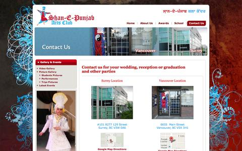 Screenshot of Contact Page spacbc.com - Learn Bhangra - Bhangra Club in Surrey Vancouver - captured Oct. 3, 2014