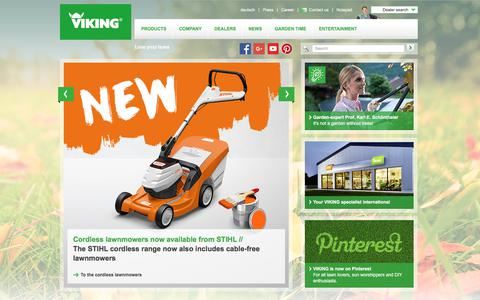 Screenshot of Home Page viking-garden.com - Lawn mowers, robotic mowers, lawn tractors, shredders, tillers, scarifiers. VIKING - Love your lawn. - captured Sept. 26, 2018