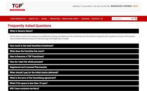 Screenshot of FAQ Page tgp.com.ph - FAQ | Drugstore Philippines - The Generics Pharmacy - captured Nov. 19, 2018