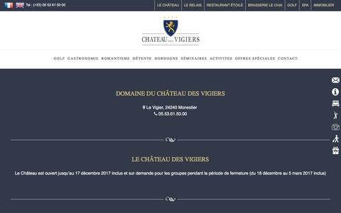 Screenshot of Contact Page vigiers.com - contact et informations château des Vigiers - captured July 21, 2017
