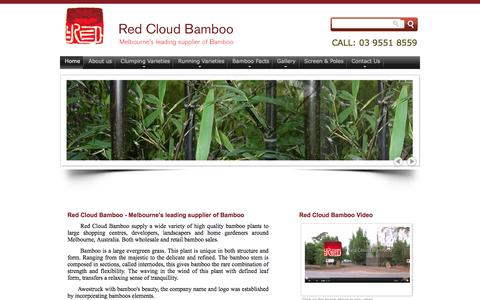 Screenshot of Home Page redcloudbamboo.com.au - Red Cloud Bamboo - Melbourne's leading supplier of Bamboo Plants - captured June 16, 2016