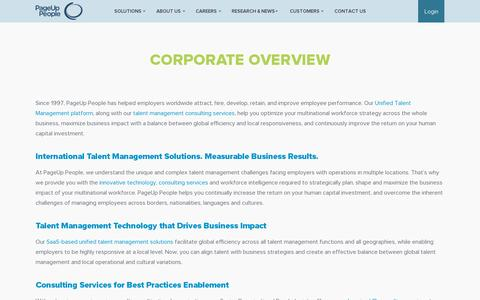 Screenshot of About Page pageuppeople.com - Corporate Overview « PageUp People PageUp People - captured July 18, 2014
