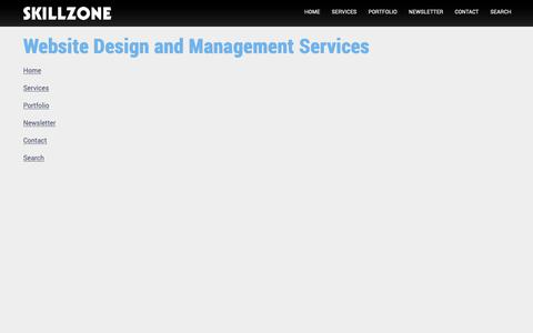 Screenshot of Menu Page skillzone.net - SKILLZONE.NET Website Design and Management Services, UK - captured Oct. 18, 2018