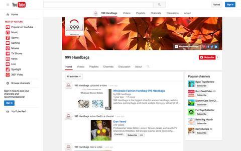 Screenshot of YouTube Page youtube.com - 999 Handbags  - YouTube - captured Nov. 23, 2015