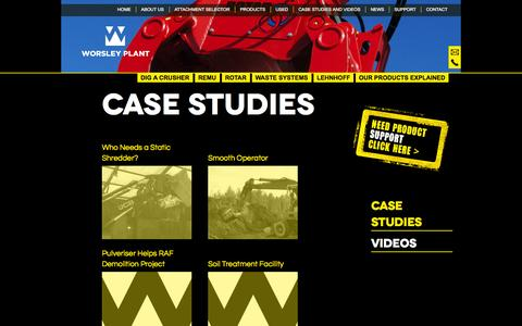 Screenshot of Case Studies Page worsleyplant.co.uk - Case Studies from Materials Handling to Recycling - captured Oct. 1, 2014