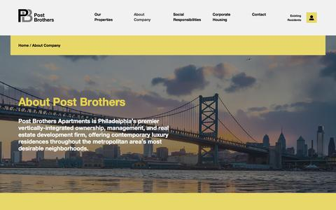 Screenshot of Team Page postrents.com - About – Post Brothers Apartments in Philadelphia | Post Brothers - captured April 30, 2016