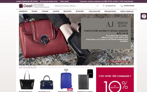 Screenshot of Home Page gsell.fr - Sac a main, Sac femme, Maroquinerie, Sac à dos - Gsell - captured Sept. 25, 2014