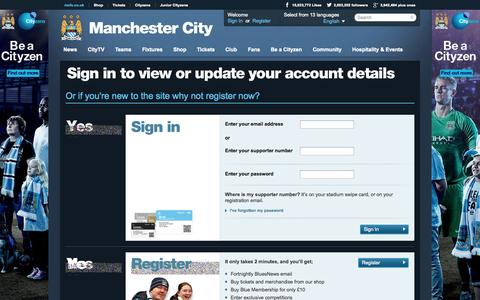 Screenshot of Login Page mcfc.co.uk - SignIn - Supporters - Manchester City FC - captured Sept. 18, 2014