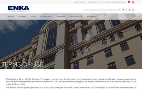 Screenshot of Terms Page enka.com - Terms of Use | ENKA İnşaat ve Sanayi A.Ş. - captured June 3, 2018