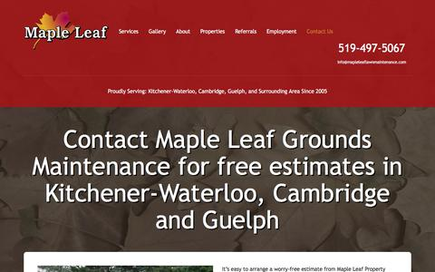Screenshot of Contact Page mapleleaflawnmaintenance.com - Lawn Care in Kitchener - Free Estimate | Maple Leaf Maintenance - captured July 13, 2018