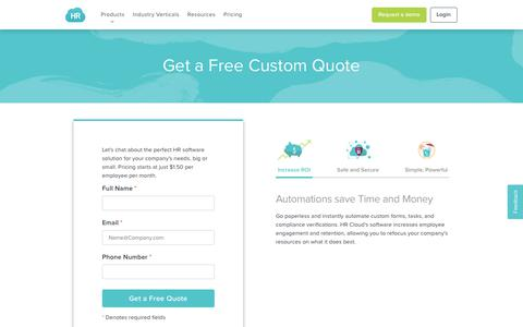 Screenshot of Pricing Page hrcloud.com - Pricing | Costs and Benefits of HRCloud HRMS & HR Software - captured Nov. 4, 2018