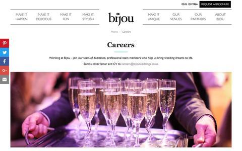 Screenshot of Jobs Page bijouweddingvenues.co.uk - Careers | Bijou - captured Nov. 22, 2016