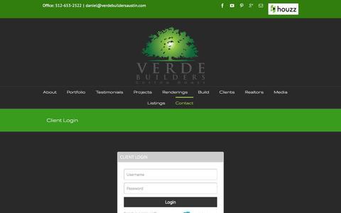 Screenshot of Login Page verdebuildersaustin.com - Client Login   Verde Builders, LLC - captured Feb. 14, 2016