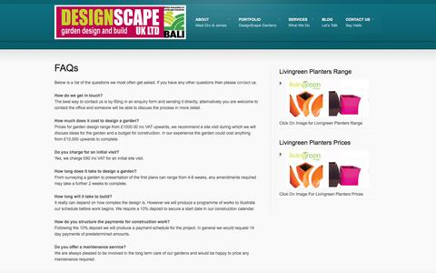 Screenshot of FAQ Page designscapeuk.com - FAQs | DESIGNSCAPE UK LTD - captured Oct. 5, 2014