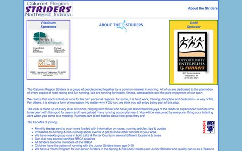 Screenshot of About Page calstrider.org - Calumet Region Striders About the Striders - captured June 13, 2016