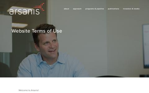 Screenshot of Terms Page arsanis.com - Website Terms of Use – Arsanis - captured Oct. 19, 2018