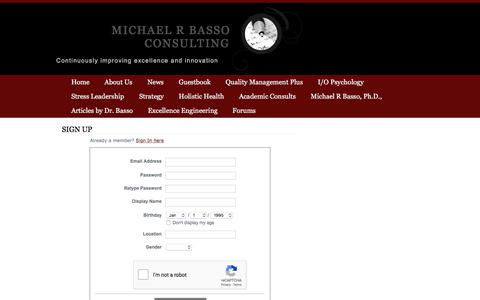 Screenshot of Signup Page michaelrbassoconsulting.com - Signup - Michael R Basso Consulting - captured Sept. 20, 2018