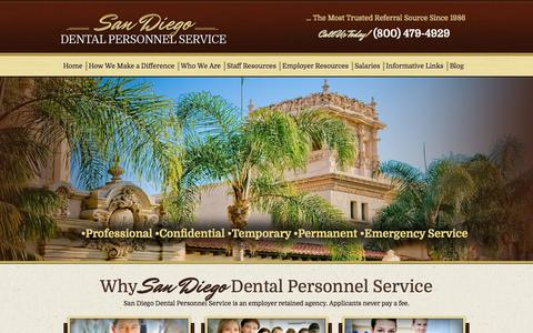 Screenshot of Home Page sddps.com - San Diego Dental Personnel Service | - captured Oct. 4, 2014